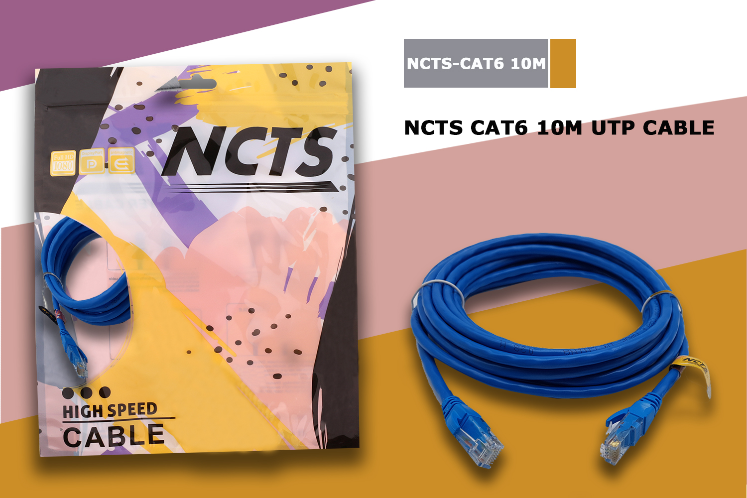 NCTS CAT6 UTP 10M,23AWG 4PR,7*8*0.12mm CCA