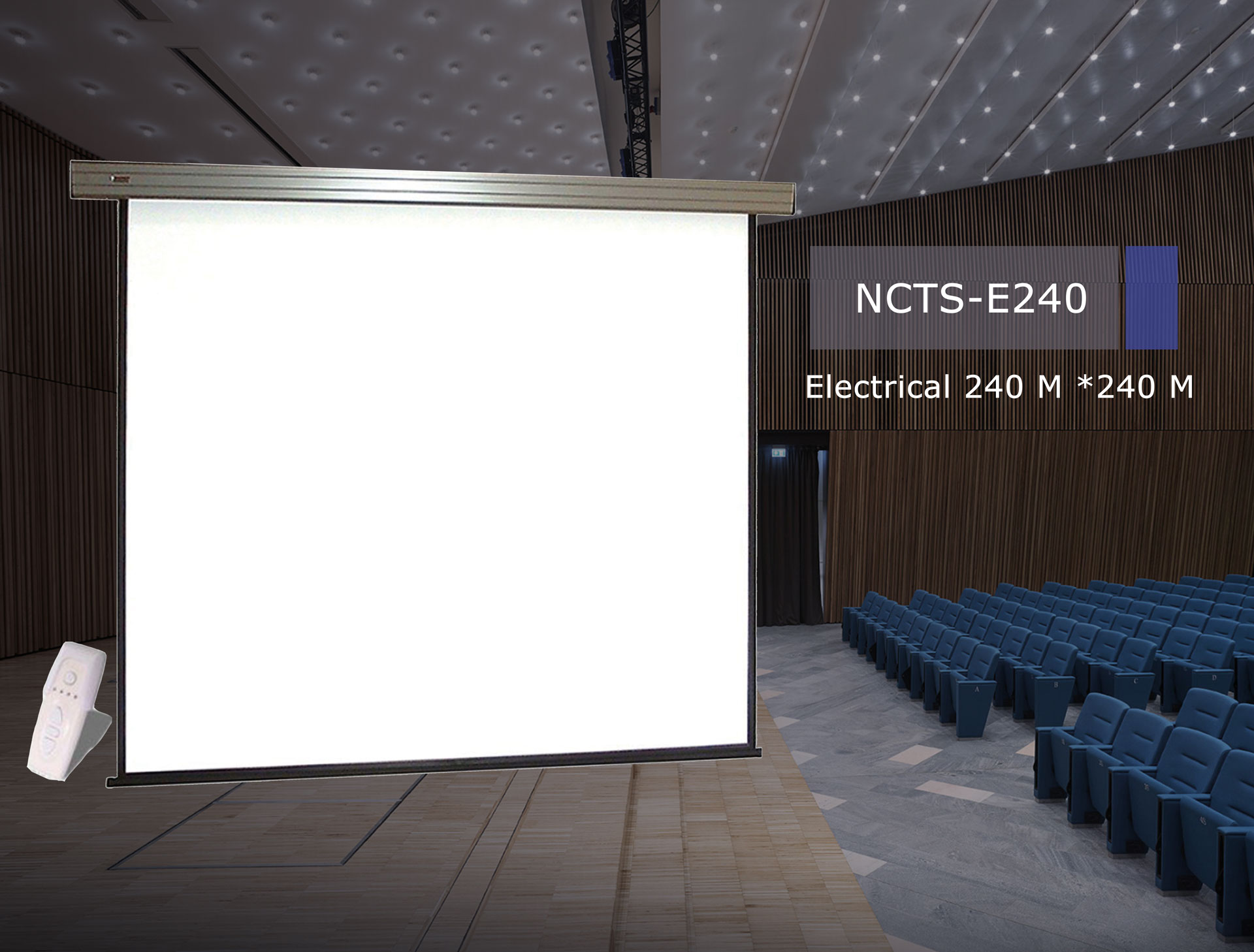 .NCTS ELECTRICAL SCREEN FOR PROJECTOR 2.4M*2.4M MATTE 0.42MM WITH REMOTE