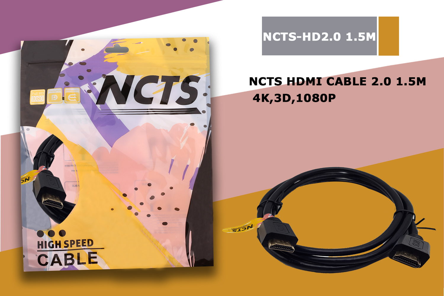 HDMI CABLE 2.0 1.5M 4K,3D,1080P