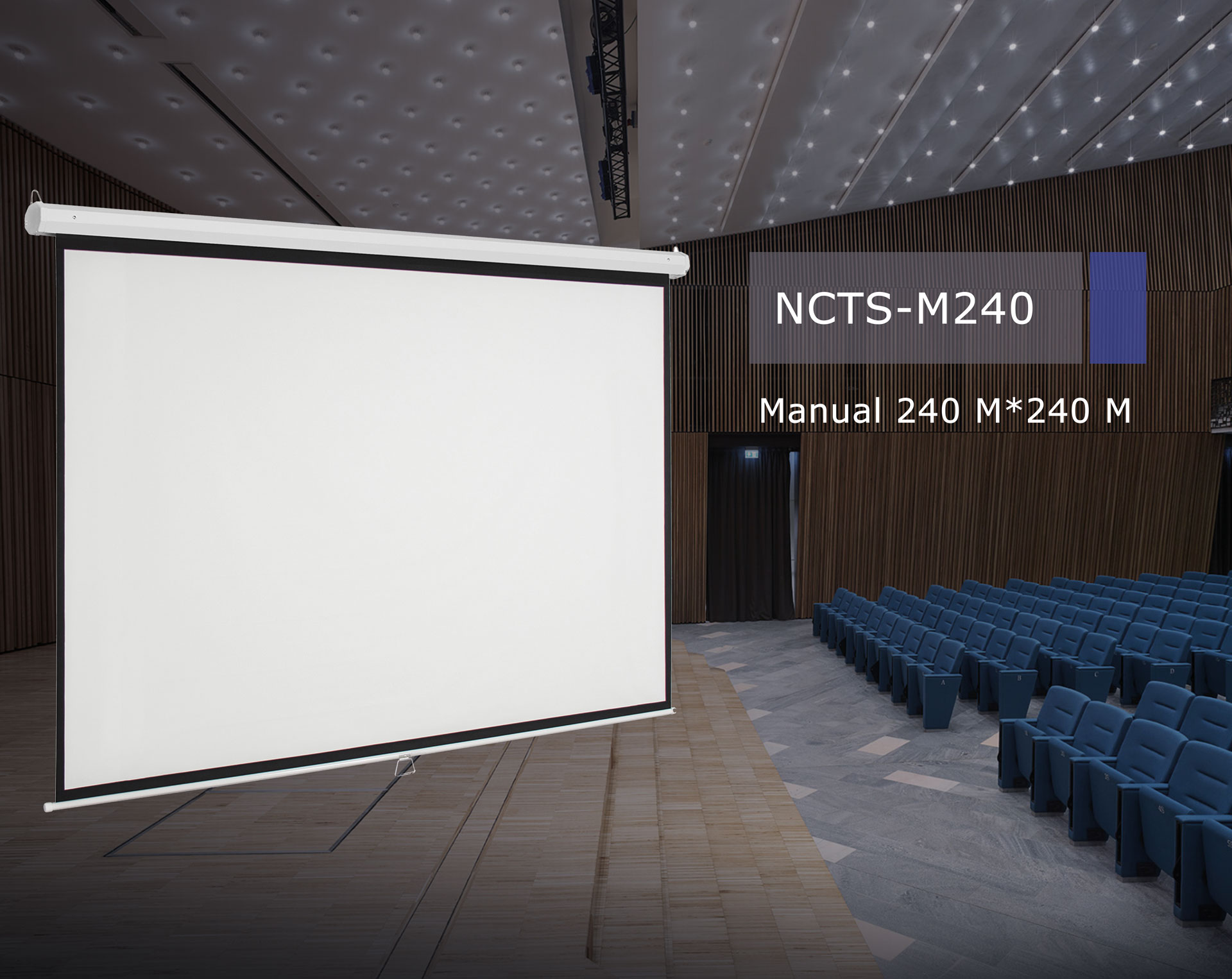 .NCTS MANUAL SCREEN FOR PROJECTOR 2.4M*2.4M MATTE 0.42MM