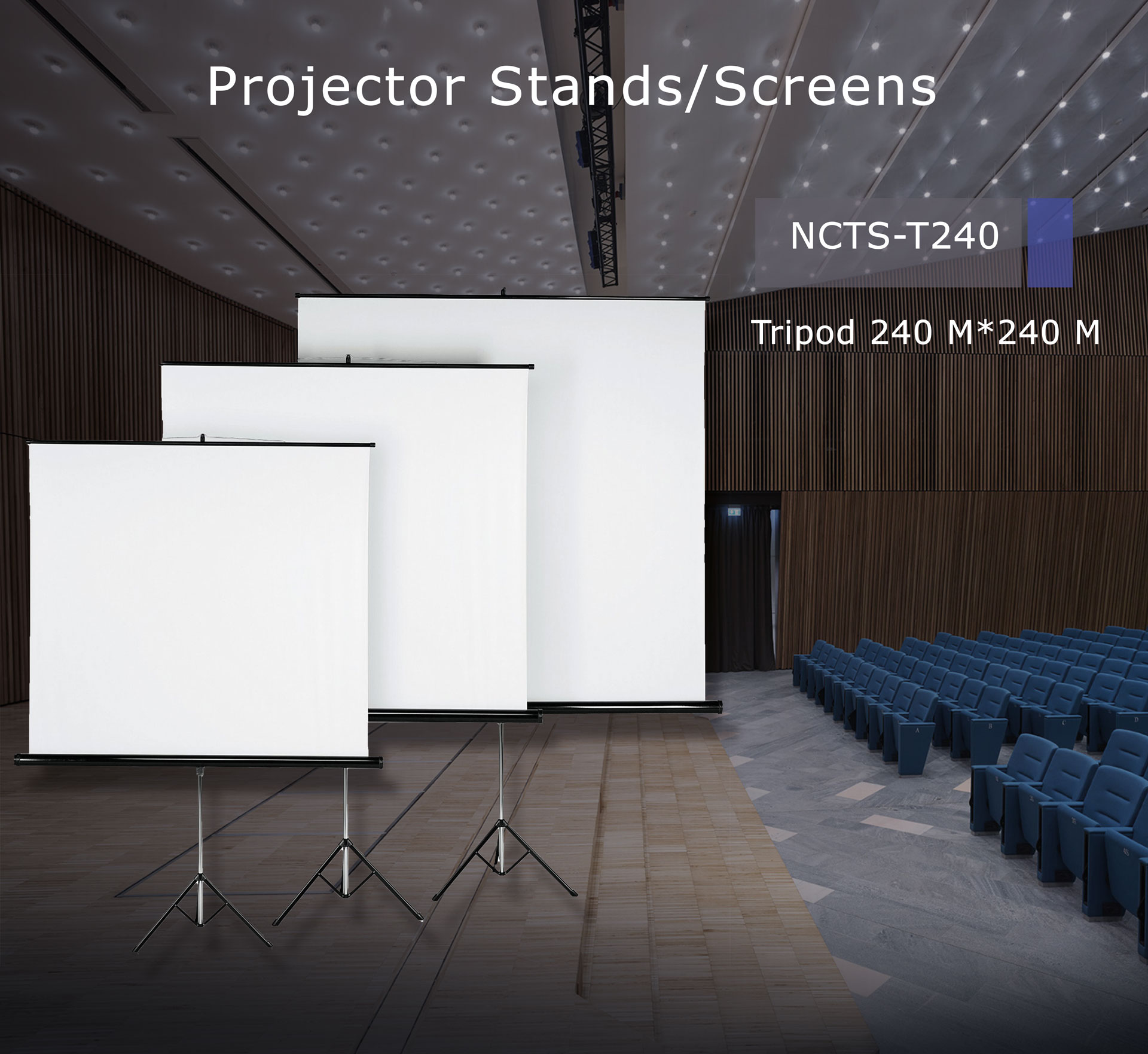 .NCTS TRIPOD SCREEN FOR PROJECTOR 2.4M*2.4M MATTE 0.42MM